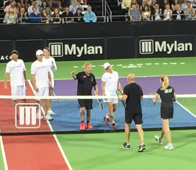 Elton John persuaded Andre and Steffi to play a few games of tennis at Caesar's Palace. We were part of the crowd of spectators.
