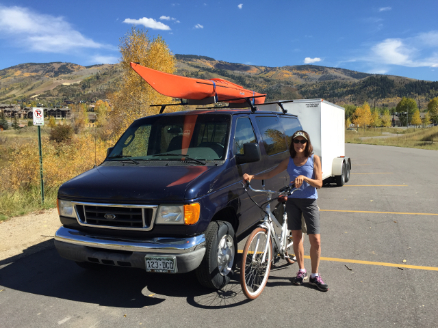 Starting a vacation of biking and kayaking in Steamboat Springs, Colorado.