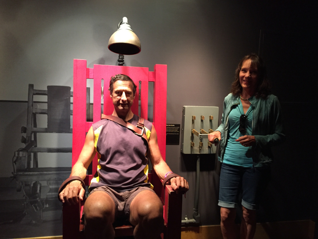 Mary enjoyed the rare opportunity to execute her husband at the Mob Museum in Las Vegas.
