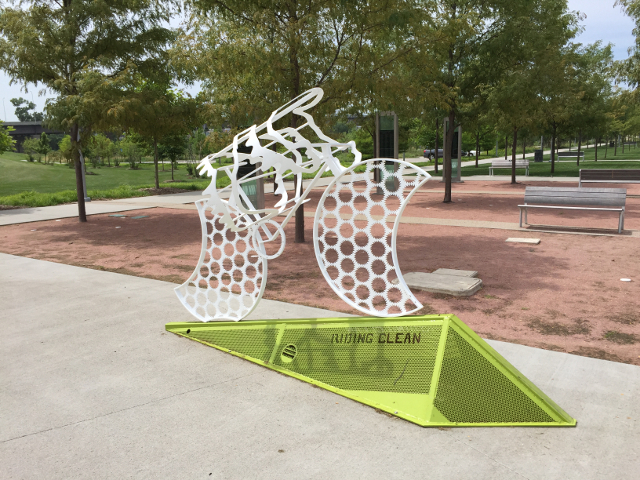 Sculpture at a new park in Council Bluffs, Iowa.