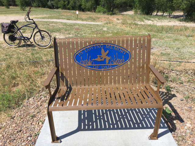 Bench at Lake Mac, western Nebraska, halfway between Omaha and Denver. It is congested in summer but clears out after Labor Day.