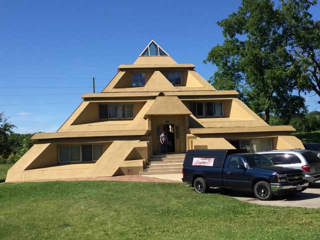 Pyramid house in Clear Lake, Iowa, the last town Buddy Holly played in before he died. The ballroom is still there and still plays live music.